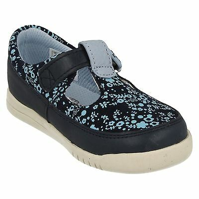 CLARKS Crazy Tale Girls Navy Leather Shoes