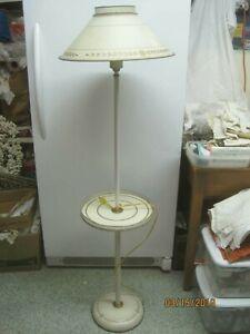 Vintage Floor Lamp White Gold Tole