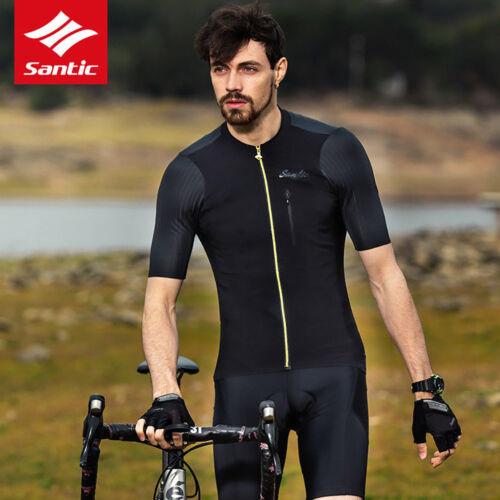met ademend fietsshirt Santic maat Heren korte mouwen Aziatische shirt Zwart 1EqHwqg