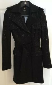 Black-Long-Coat-Bebe-Sequined-Wool-Jacket-Trench-Dress-Sexy-Belted-S-SMALL-NWT