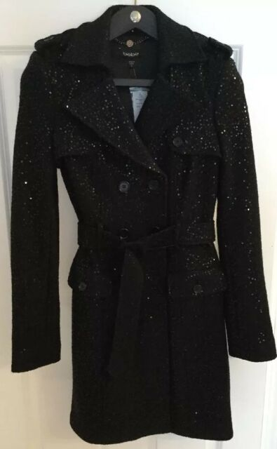 Bebe Sequin Coat Black Wool Long Trench Top Dress Jacket Sexy Belted S SMALL NWT