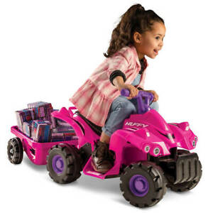 Huffy-6V-Quad-Trailer-Ride-on-Toy-for-Kids-Pink-NEW