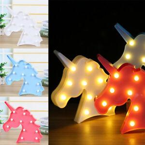 Licorne-Lampe-LED-Table-Veilleuse-Fete-Anniversiare-Mur-Bureau-Decor-Noel-Cadeau