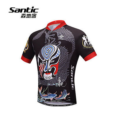 SANTIC Cycling Sports Short-sleeve Full-zipper Short Jersey With Chinese Opera