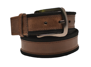 Genuine Leather Clamp Reversible Belt w//Matte-Finished Non-Reflective Buckle