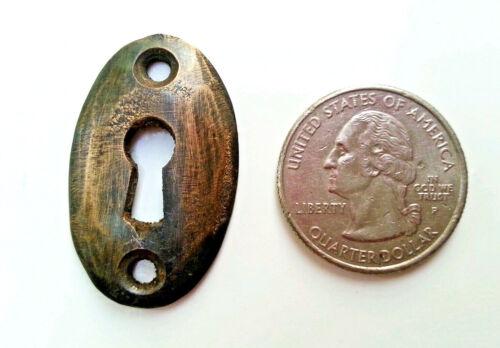 "6 oval brass escutcheons,key hole covers size 1 3//8/"" tall jewelry component #E5"