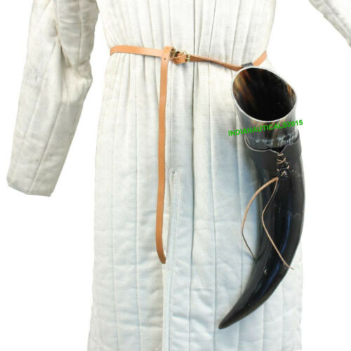 Medieval Natural Cow Drinking Beer Horn with Leather Holder Frog.