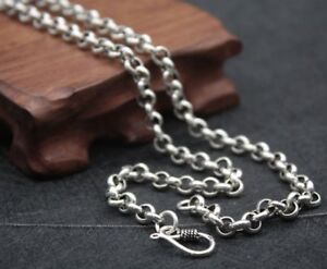 New-Pure-925-Sterling-Silver-Necklace-6mm-Rolo-Link-Chain-Necklace-53cmL