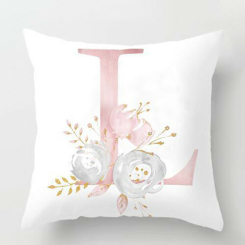 Pink Letters Alphabet Cushion Cover Pillow Case Waist Throw Home Sofa Decor
