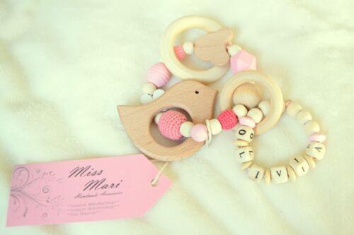 Handmade Personalised Wooden Teething Toy Animal Baby Gift Christmas Name
