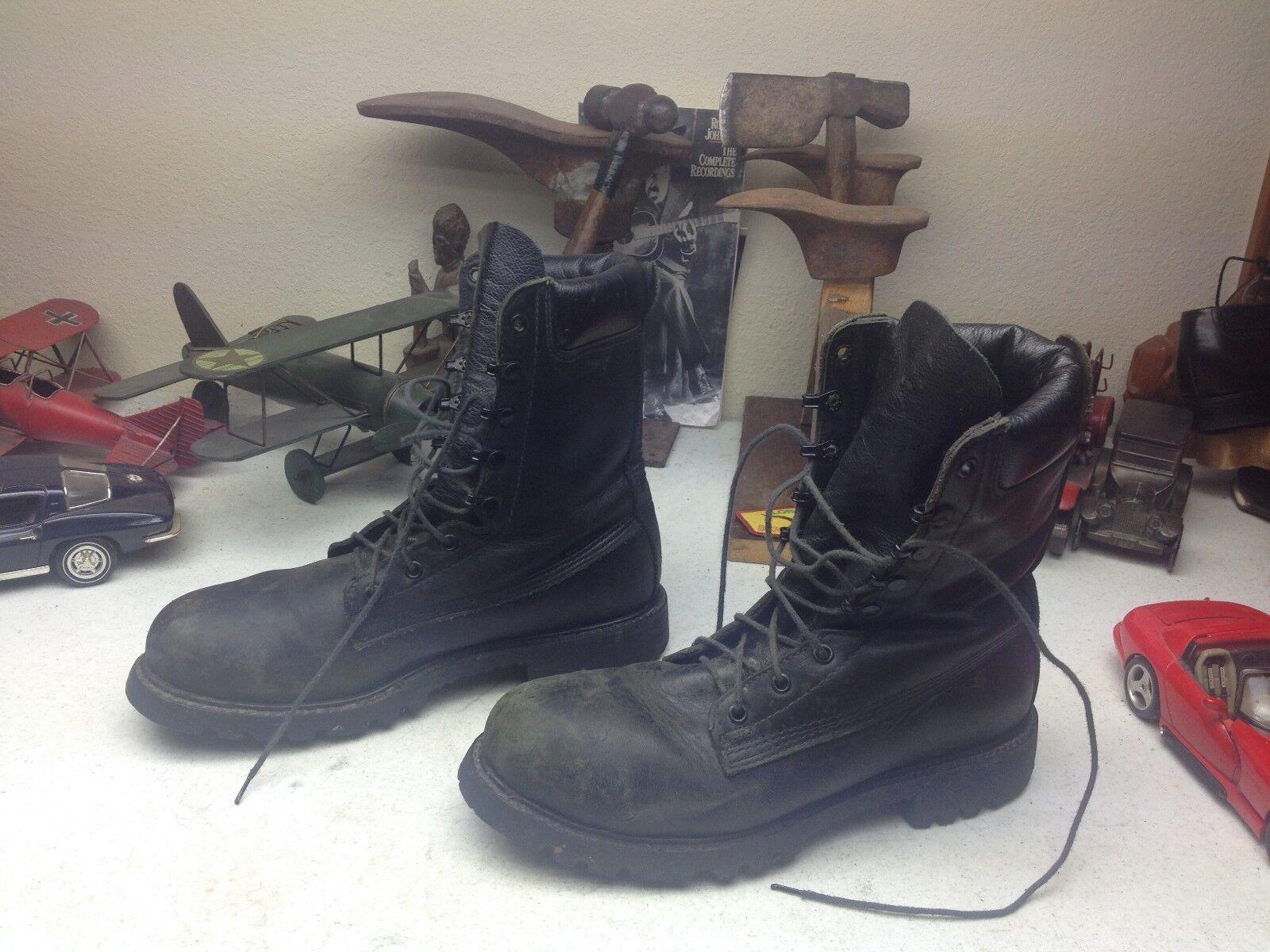 Envejecido Bombero EE. UU. Negro Cuero Con Cordones jefe Puntera De Acero botas De Trabajo 10 D