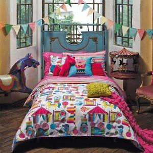 KAS-Kids-Carnival-Circus-Single-Double-Quilt-Duvet-Cover-amp-Lion-Cushion-Set