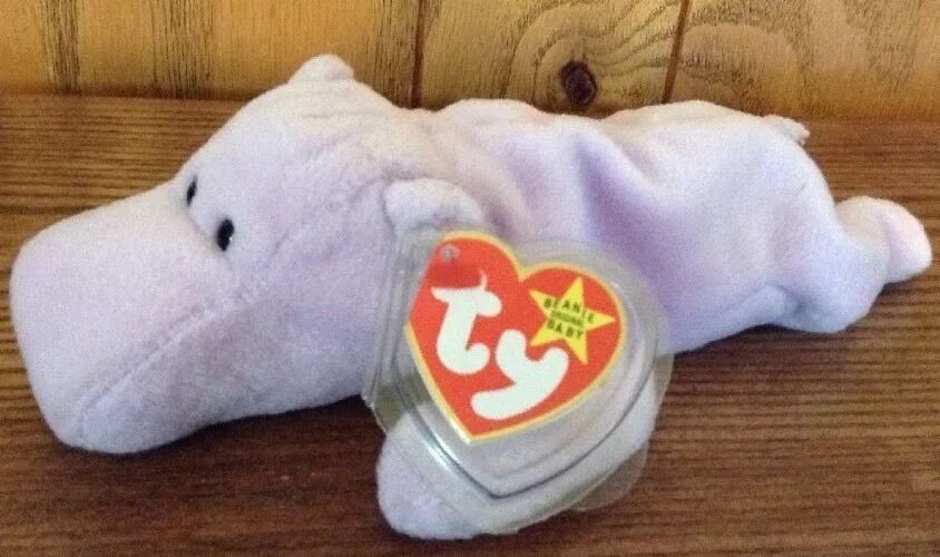 Ty Ty Ty HAPPY The Hippo Lavender Beanie Baby,1993-1994 Style 4061PVC,No Star,NoStamp f63206