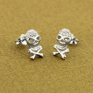 707876a1e Image is loading Sterling-Silver-925-skeleton-Skull-Earrings-Post-Earring-