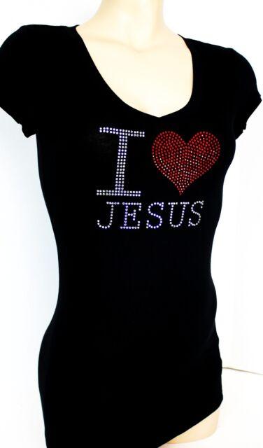 RHINESTONE I LOVE JESUS  JUNIOR SHEER V NECK WINGS SHIRT NEW