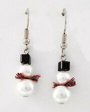 Christmas Holiday Swarovski Elements & Faux Pearl Snowman Earrings