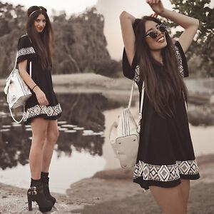 Women-Girl-Short-Sleeve-Loose-V-neck-Summer-Sundress-Boho-Beach-Mini-Dress-Black