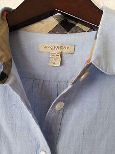 b92fb8e999f NEW BURBERRY BRIT WOMEN'S CHECK COLLAR COTTON BLUE BLOUSE TUNIC ...