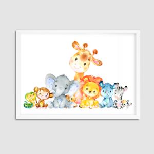 Animaux-Aquarelle-Nursery-Decor-Nursery-Imprime-Animal-chambre-salle-de-jeux