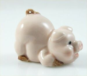"""Ceramic Pig Figurine Pink Handpainted approx 1.7/"""" long 1.6/"""" tall standing"""