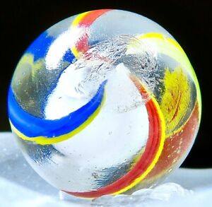 """German 2 Color Bands Beach Ball 4 Color Solid White Core NM Marble .67"""" #19"""