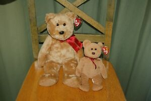 CURLY-the-BEAR-8-034-Ty-Beanie-Baby-and-13-034-Ty-BUDDY-MWMT-Fast-Shipping