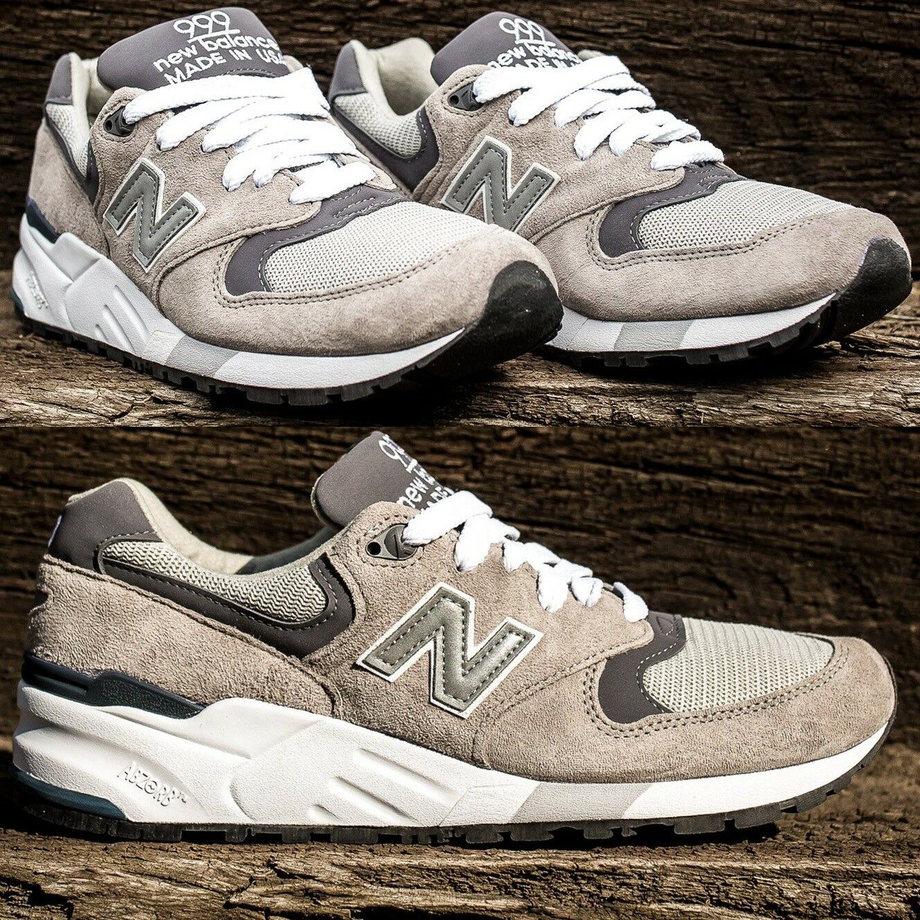 NEW BALANCE 999 Made in USA GRAY / WHITE MEN'S SUEDE SHOE PREMIUM COMFY SNEAKER