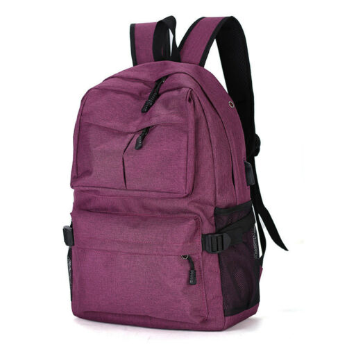 Mens Women Backpack Rucksack Travel Laptop School Bags With USB Charging Port
