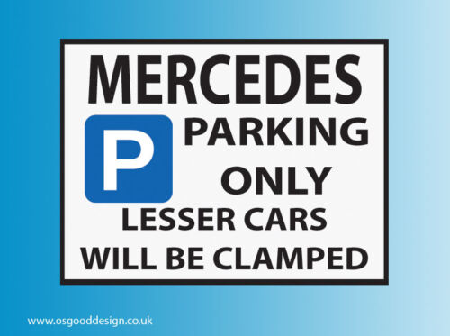 Mercedes Parking Only Vinyl Sticker A B C CLA CLS E G GLA GLC Class S AMG D026