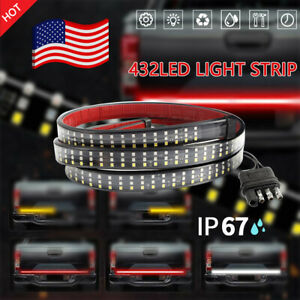 "60"" 3-Row LED Truck Tailgate Light Bar Strip Reverse Brake Signal Tail Lamp USA"