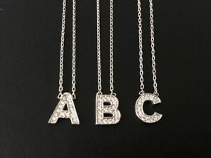 925-Sterling-Silver-Initial-CZ-Necklace-Letter-Pendant-Charm-925-Sterling-Chain