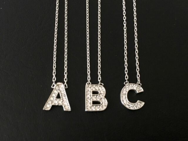 925 Sterling Silver Initial CZ Necklace Letter Pendant Charm 925 Sterling Chain