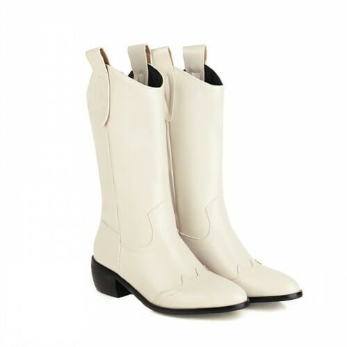 Details about  /44//48 Women Outdoor Motor Mid Calf Knight Boots Round Toe Low Heel Shoes Pumps D