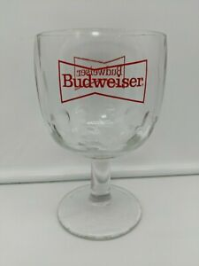 "Budweiser ""King of Beers"" Beer Mug Goblet Glass Vintage 1980s THICK GLASS HEAVY"