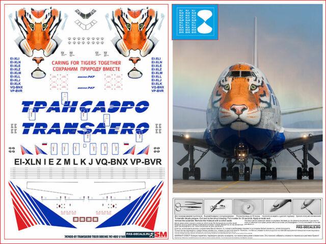 Herpa Wings 1:200 Boeing 747-400 Transaero Amur Tiger 557917