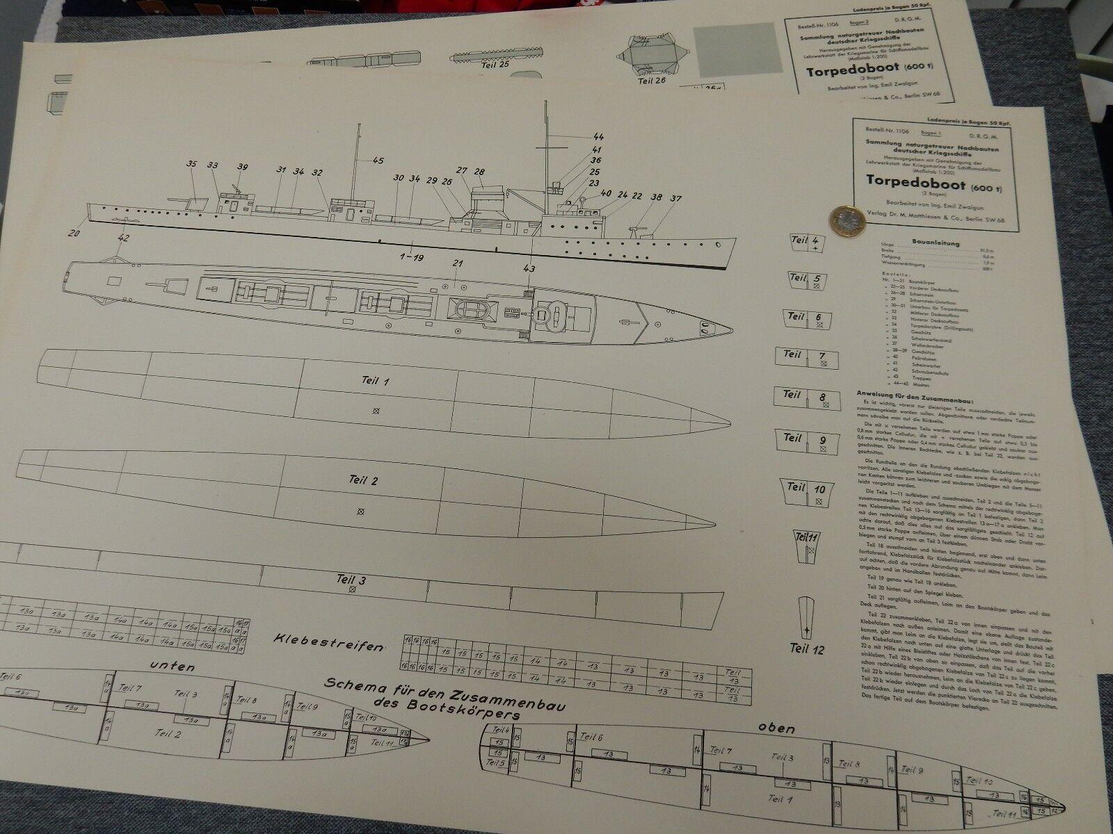 WW2 1106 torpedostivalie  600 T  carta del modello originale molto grandi Torpediniera