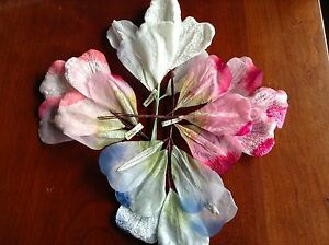 Vintage Millinery Flower Velvet Chiffon Choose White or Blue or Pink for Y238