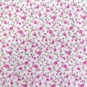 1/2 Yard, Quilting Sewing Fabric Country Cottage Calico Vine Flower PINK WHITE