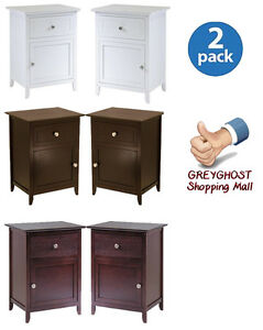 Nightstand night tables set of 2 with cabinet and drawer for Headboard dresser and nightstand set
