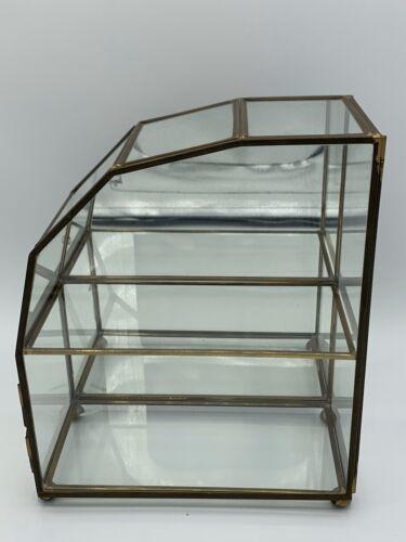 Insured Postage Franklin Mint Vtg Glass  Brass Small Curio Cabinet Left Side