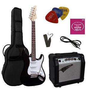 E-Gitarre-Set-Verstaerker-GW15-Zubehoer-Tasche-Band-Saiten-Massiv-Holz-noe