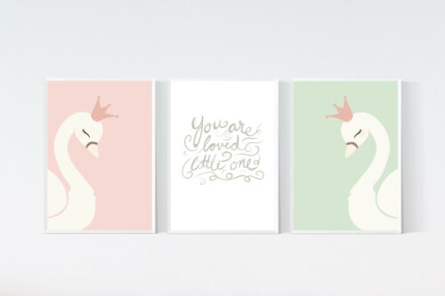3 Princess Swan Nursery Prints Quote Art Patel Pink Girls Wall Decor Pictures