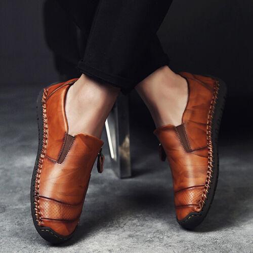 Men Zipper Loafers Oxfords Moccasins Smart Office Work Slip On Casual Shoes UK