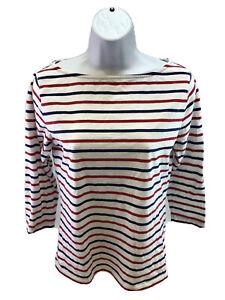 Vineyard-Vines-Women-039-s-Red-White-Blue-Striped-3-4-Sleeve-T-Shirt-Sz-S