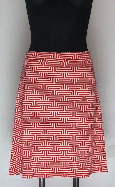 New Leota Women's Lilian Fit n Flare Montauk Red Skirt NWT Large L Pattern