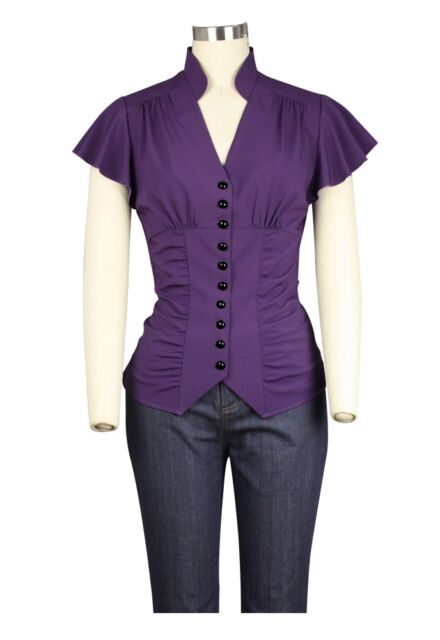 Purple Steampunk Gothic Victorian Retro Lace Top 3//4 Sleeved Blouse UK 6 to 28