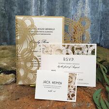 60 PCS champagne Laser Cut Wedding Invitation Cards Blank Inner Party Birthday