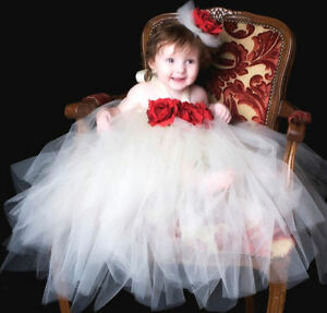 Image Is Loading WHITE TUTU DRESS WITH RED ROSE FOR BABY