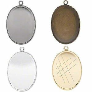 Set-of-2-Blank-Bezel-Cup-Pendant-Charm-Settings-30-x-22mm-Oval-for-Cabochons
