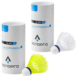 Tecnopro Badminton Bälle XL 400 - 3er Dose - Federball - weiß oder gelb - 108341